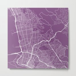 Berkeley Map, USA - Purple Metal Print