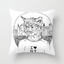 NY Cat Throw Pillow