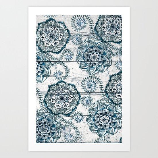 Navy Blue Floral Doodles on Wood Art Print