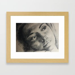 Coal portrait beautiful girl with sorrow sigth Framed Art Print