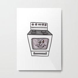 Oven Smiley Face Cartoon Metal Print