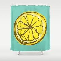 lemon Shower Curtains featuring lemon by Marzipan