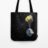 death star Tote Bags featuring Death Star by J Styles Designs