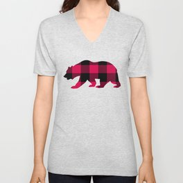 Buffalo Plaid Bear Unisex V-Neck