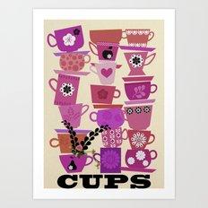 cups-purple Art Print