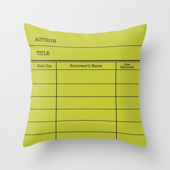 LiBRARY BOOK CARD (lime) Throw Pillow