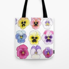 violet flowers on white background Tote Bag