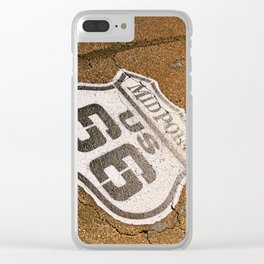 Midpoint in the historic Route 66. Clear iPhone Case