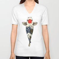 huebucket V-neck T-shirts featuring The Great Wave Of Koi by Huebucket