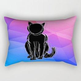 Black Cat - geometric background Rectangular Pillow