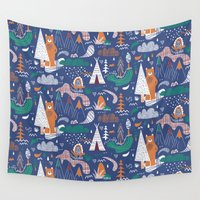 camp Wall Tapestries featuring Bear camp by Demi Goutte