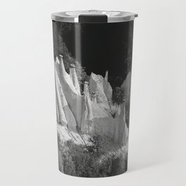 Black and White Dolomites Mountains Earth Pyramids in Forest – Landscape Photography Travel Mug