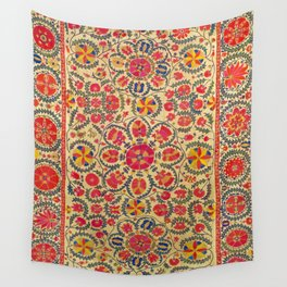 Vintage Red Floral Embroidery Suzani Wall Tapestry