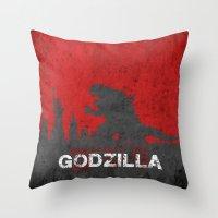 godzilla Throw Pillows featuring Godzilla by WatercolorGirlArt