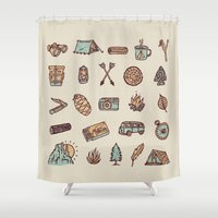 camping Shower Curtains featuring Lets Go Camping by WEAREYAWN