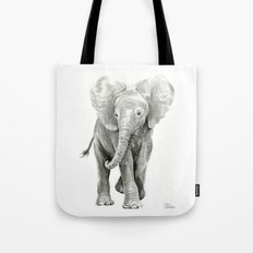 Baby Elephant Watercolor Tote Bag