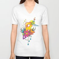 letter V-neck T-shirts featuring letteR by Essie Stolmar