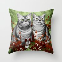 monty python Throw Pillows featuring Perry and Monty by EggsBFF