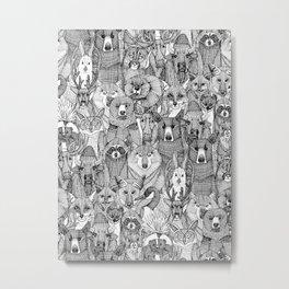 canadian animals black white Metal Print