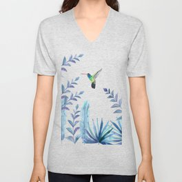 Hummingbird with tropical foliage Unisex V-Neck