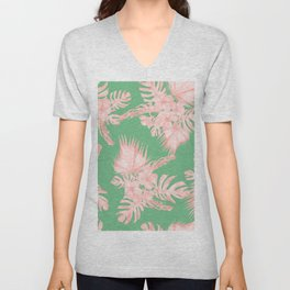 Dreaming of Hawaii Seashell Pink + Green Unisex V-Neck