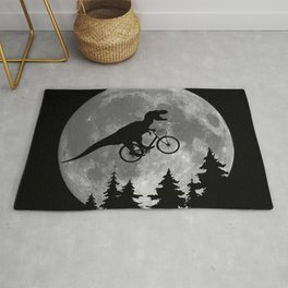 Biker t rex In Sky With Moon 80s Parody Rug