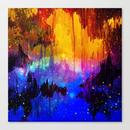 CASTLES IN THE MIST Magical Abstract Acrylic Painting Mixed Media Fantasy Cosmic Colorful Galaxy  Canvas Print