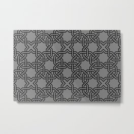 Entwined graphic Lines Home Design - grey Metal Print