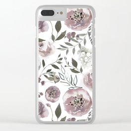 dusty rose floral watercolor Clear iPhone Case