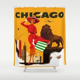 Vintage Chicago Illinois Travel Shower Curtain