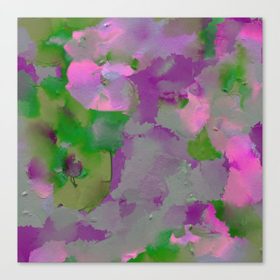Raw Paint 1 - Purple And Green Canvas Print