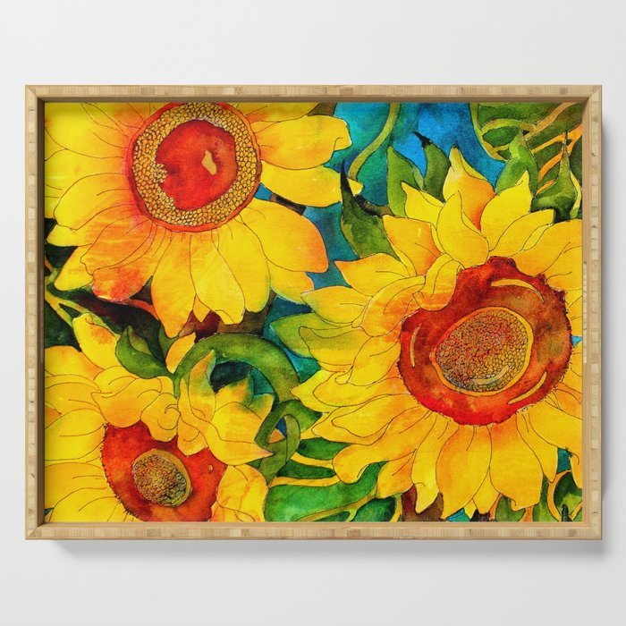 Golden Sunflowers Serving Tray