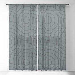 Circle Swirl Pattern Dark Green Inspired by PPG Glidden Night Watch 1145-7 Sheer Curtain