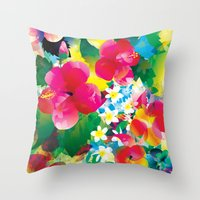 hawaiian Throw Pillows featuring Hawaiian jungle by Akwaflorell
