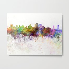 Sacramento skyline in watercolor background Metal Print