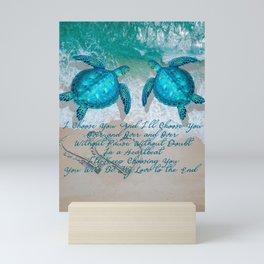 Sea Turtle Ocean Beach Couple's Love Quote Gift Mini Art Print