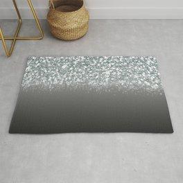 Black Gray & Silver Glitter Ombre Rug