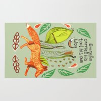 sayings Area & Throw Rugs featuring Every Fox...fox, sayings, typography, quote, nature, leaves by Slumbermonkey Designs