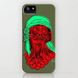 Lady head with Green Scarf iPhone Case
