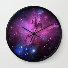 Pink N Blue Floral Space Explosion Wall Clock