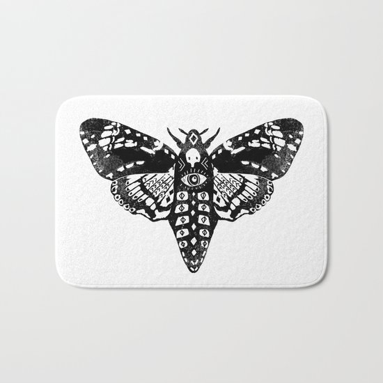 Moth linocut black and white minimal modern art print square moths nature Bath Mat