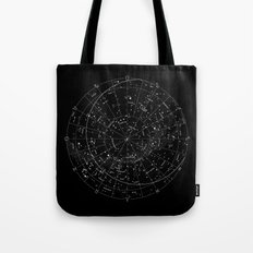 Constellation Map - Black & White Tote Bag