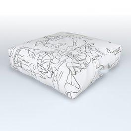 Yoga Asanas black on white Outdoor Floor Cushion