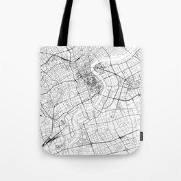 Shanghai White Map Tote Bag