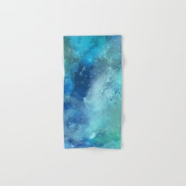 Abstract navy blue teal turquoise watercolor pattern Hand & Bath Towel