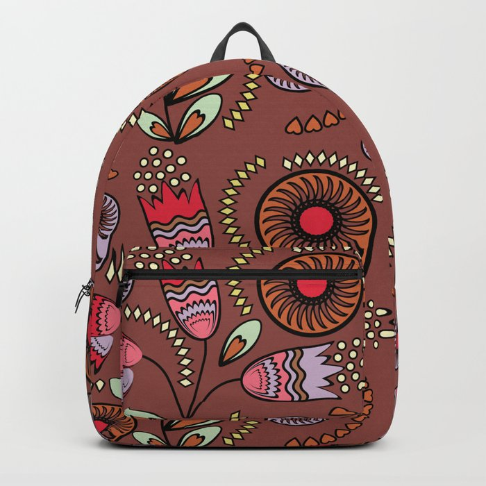Bright  stylized flowers on a brown background. Backpack