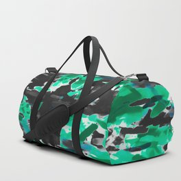 psychedelic vintage camouflage painting texture abstract in green and black Duffle Bag