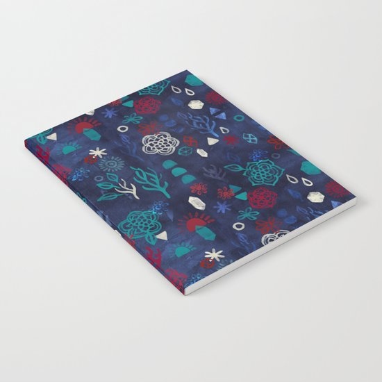 Elements - a watercolor pattern in red, cream & navy blue Notebook