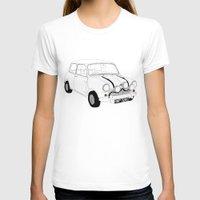mini cooper T-shirts featuring The Italian Job Red Mini Cooper by Martin Lucas