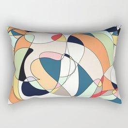 Modern Colorful Abstract Line Art Design  Rectangular Pillow